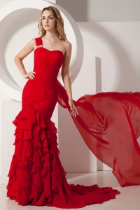 One Shoulder Chiffon Ruch Ruffles Red Prom Dress Watteau