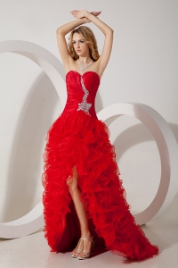 Sweetheart High-Low Organza Beading Red Prom Evening Dress