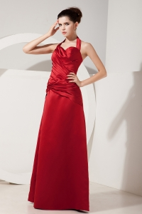 Cheap Halter Top Red Empire Satin Ruch Prom Dress
