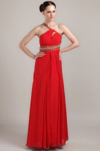2013 Red Empire One Shoulder Chiffon Rhinestone Prom Dress