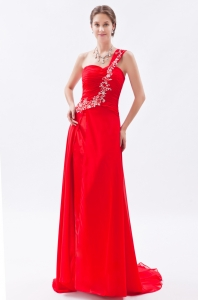 One Shoulder Brush Train Chiffon Beading Red Empire Prom Dress