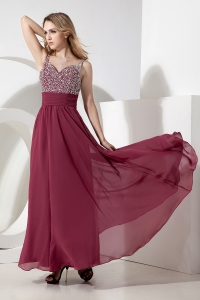 Straps Ankle-length Chiffon Beading Prom Dress Red Empire