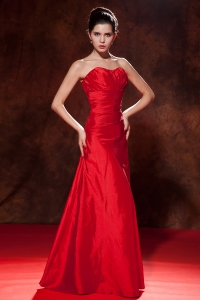 Red Empire Sweetheart Prom Evening Dress Strapless Taffeta Ruch