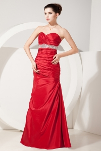 Red Mermaid Sweetheart Satin Beading and Ruch Prom Dresses