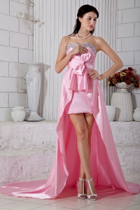 Baby Pink High-low Taffeta Beading Prom / Evening Dress
