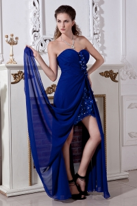Sweetheart Beading Hand Made Flowers Prom Dress in Royal Blue