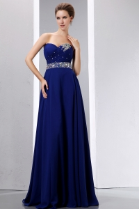 Royal Blue Beading Prom Dress Chiffon Empire Sweetherart