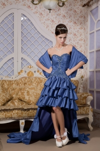 Royal Blue Sweetheart High-low Taffeta Beading Prom Evening Dress