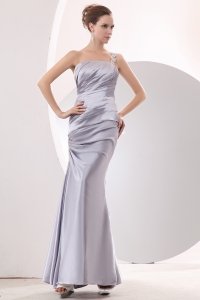 Prom/Evening Dress Silver Column One Shoulder Taffeta Ruch