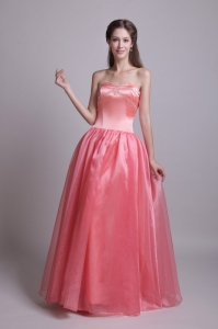 Watermelon Princess Prom Dress Organza Beading Sweetheart