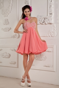 Mini-length Watermelon Red Chiffon Prom Dress Beading
