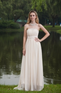 Elegant Strapless Pleat Chiffon Beading Prom Dress in 2013