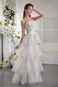Organza Ruffles Beading Long Prom / Evening Dress White