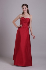 Sweetheart Wine Red Prom Dress Taffeta Strapless Ruch