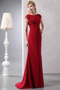 Wine Red Scoop Prom Dress Brush Train Chiffon Beading