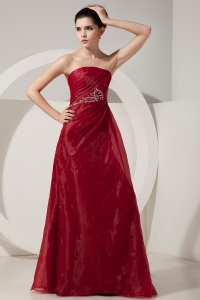 Wine Red Prom Dress Empire Strapless Organza Beading