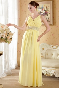 Yellow Prom / Evening Dress V-neck Chiffon Beading Ruch