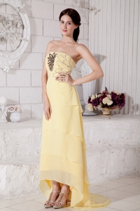 Yellow High-low Chiffon Beading Prom / Evening Dress