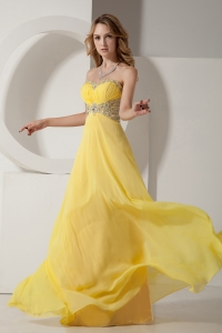 Empire Sweetheart Yellow Chiffon Prom Dress Beaded for 2013