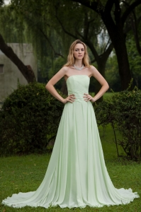 Most Popular Yellow Green Strapless Sweep Chiffon Prom Dress