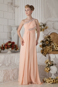 One Shoulder light Pink Prom Dress Brush Train Beading