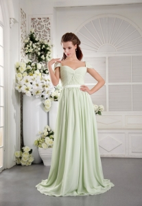 Apple Green off the Shoulder Brush Train Chiffon Ruch Prom Dress