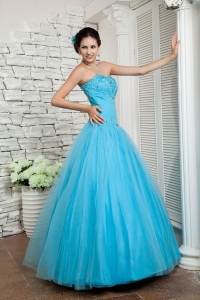 Aqua Blue Sweetheart Tulle Beading Prom Evening Dresses