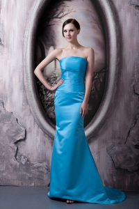 Aqua Blue Prom Dress Strapless Brush Train Elastic Woven Satin