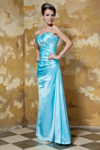 Aqua Blue Prom Evening Dress Sweetheart Taffeta Beading
