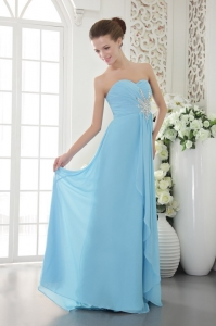 Aqua Blue Sweetheart Chiffon Beading and Ruch Graduation Dress
