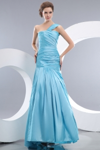 Aqua Blue Ruched Mermaid One Shoulder Prom Evening Dress