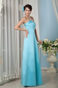Aqua Column Strapsless Floor-length Satin Prom Dress