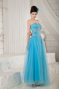 Aqua Empire Sweetheart Tulle Beading Prom Evening Dresses