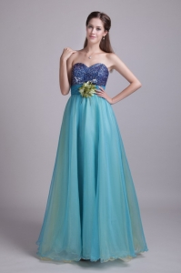Baby Blue Prom Dress Sweetheart Organza Handle-made Flowers