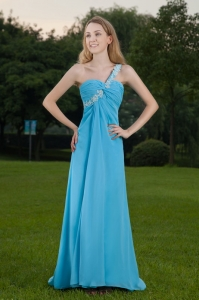 Baby Blue One Shoulder Brush Train Appliques Prom Celebrity Dress