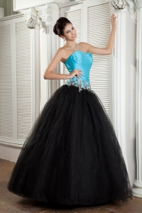 Blue and Black Tulle Appliques Ball Gown Prom Dresses