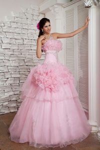 Baby Pink Shimmery Beadings ruffled layers Organza Prom Dresses