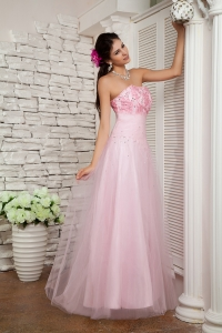 Tulle Beading Prom Evening Dress Baby Pink Strapless