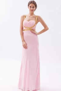 Baby Pink Straps Chiffon Sequins Prom Evening Dresses