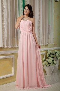 Ruch Prom Dress Baby Pink Empire Strapless Brush Train