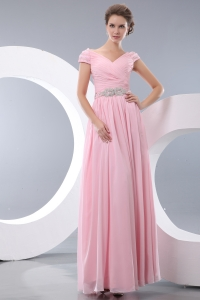 V-neck Baby Pink Chiffon Beaded Waist Prom Evening Dresses