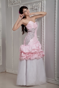 Baby Pink and White Mermaid Sweetheart Taffeta Beading Prom Dress
