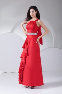Beading Ruching Ruffles One Shoulder Prom Evening Dress