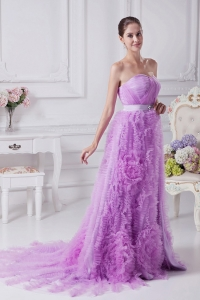Unique Beading and Ruffles Lavender Organza Prom Dress