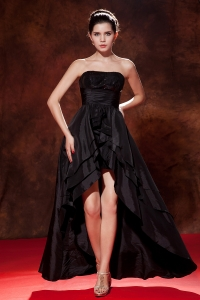 Black Strapless High-low Taffeta Squins Prom Evening Dresses