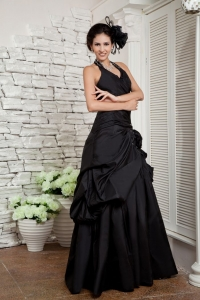 Halter ruffles Taffeta Hand Made Flowers Prom Evening Dress