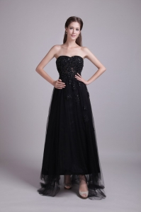 Black Empire Sweetheart Ankle-length Tulle Appliques Prom Dress
