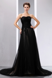 Black Sequinces Sweetheart Court Train Tulle Prom Evening Dress