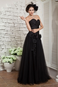 Black Tulle Beading Prom Evening Dress Hand Made Flowers