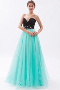 Black and Turquoise Tulle Beading Sweetheart Prom Dress